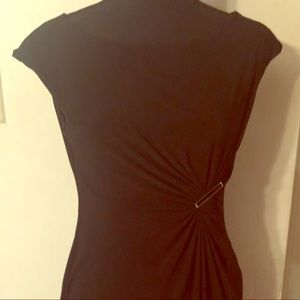Anne Klein Black Polyester Dress w/ 2-tone Clip